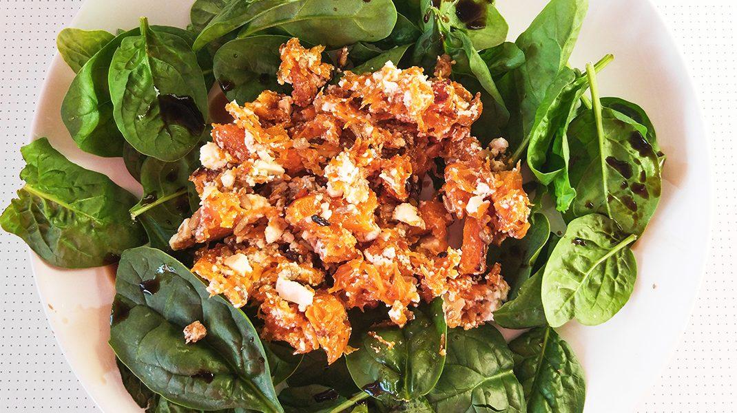 salada de abobora com espinafres
